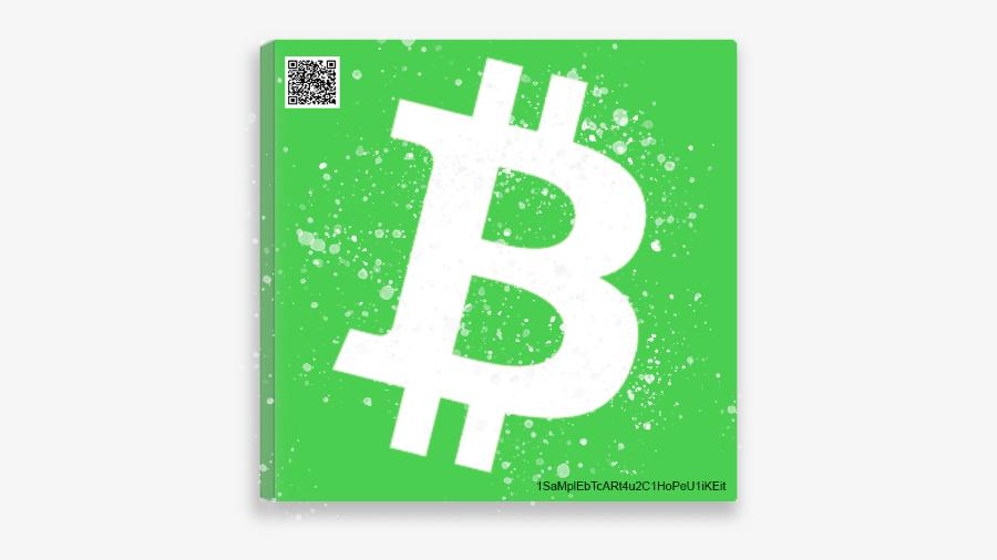 Bitcoin Cash 25x25 cm Canvas Art Print w/ real Bitcoin Cash
