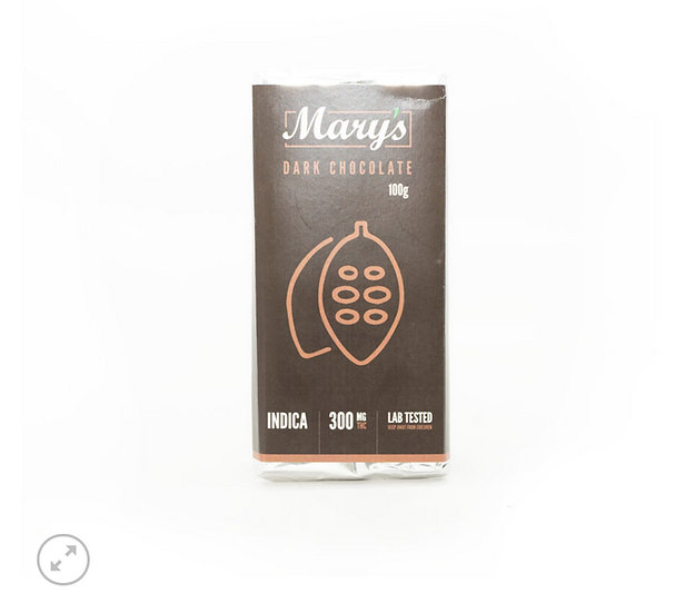 Cannabis Dark Chocolate Bar 300mg THC Mary's Edibles