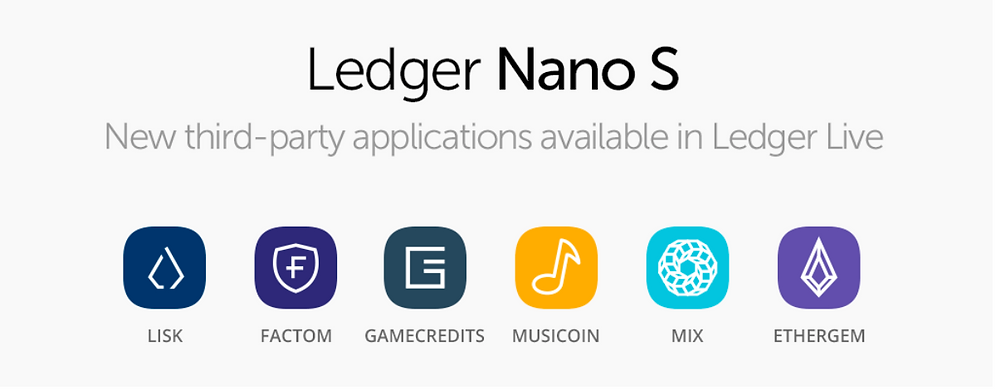 Ledger Nano S adds 6 coins