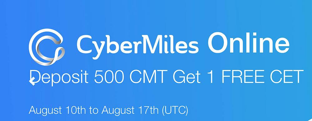 CoinEx promo - deposit cybermiles get free cet