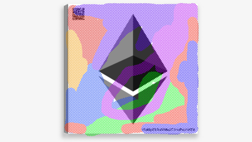 Ethereum 25x25 cm Canvas Art Print w/ real Ethereum