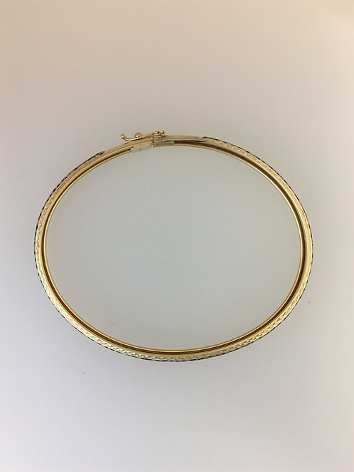 14k Yellow Gold & Enamel Bracelet 6mm Wide