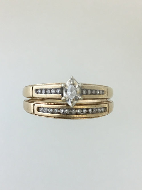 10k Yellow Gold Wedding Set .25 TW Diamond Ring Size - 11 1/4