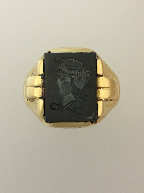 14k Yellow Gold Hematite Intaglio Ring Size - 13