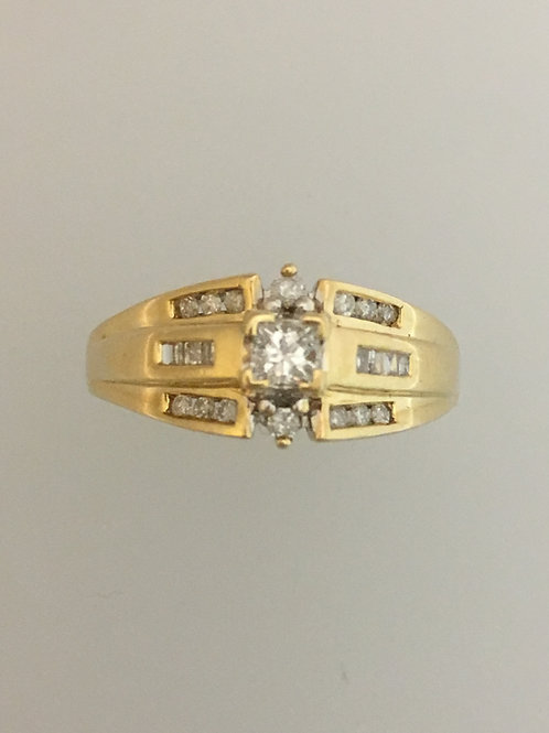 14k Yellow Gold .20 CS .65 TW Diamond Ring Size - 9 1/2