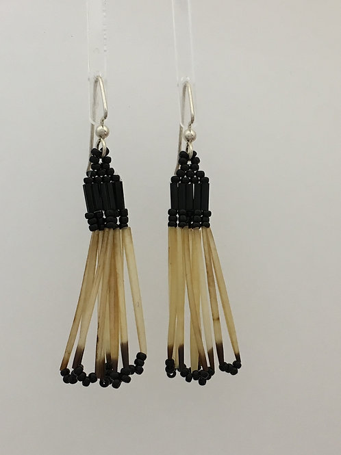 925, Seed Bead & Porcupine Dangle Earrings