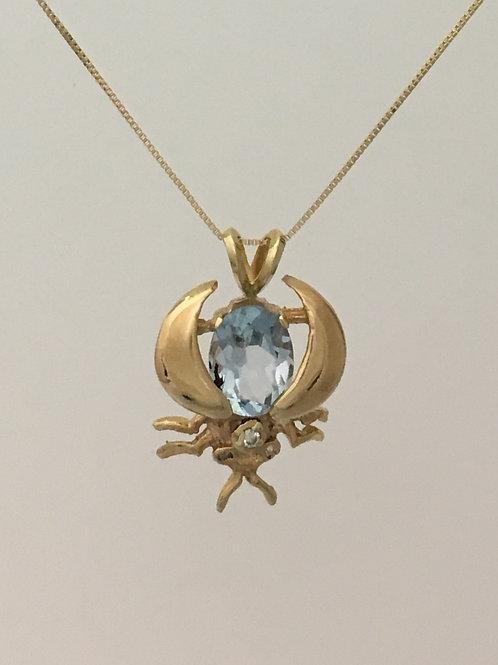"14k Yellow Gold 20"" Blue Topaz .04 Diamond Necklace"