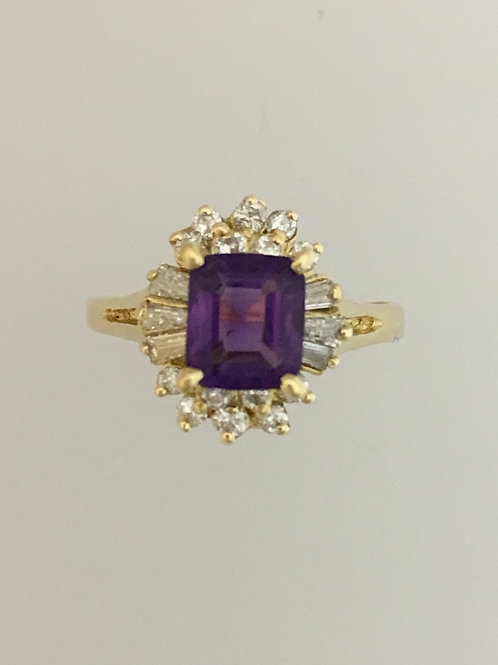 14k Yellow Gold Amethyst and Diamond Ring Size - 7 1/2