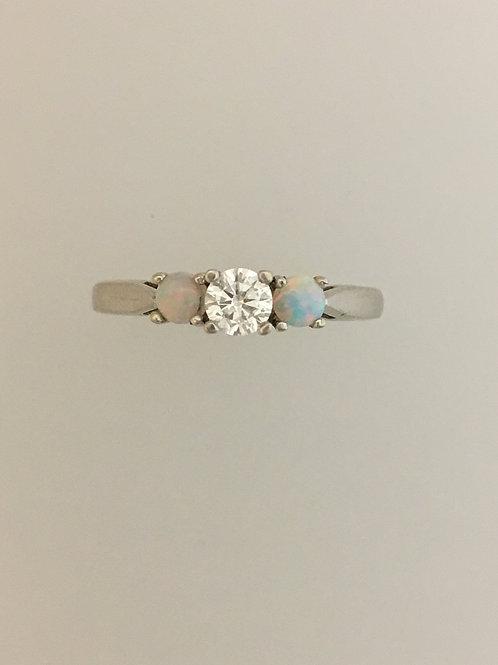 14k White Gold .28 Diamond .20 Opal Ring Size - 7 3/4