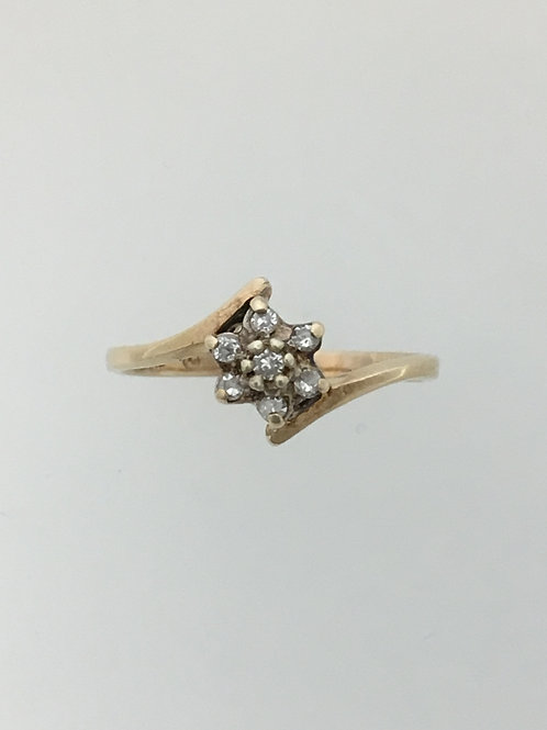 14k Yellow Gold and .10 Diamond Ring Size - 4 1/2