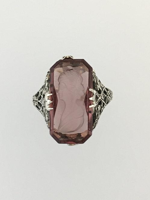 925 Amethyst Intaglio Ring Size - 6