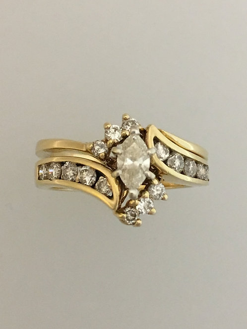 14k Yellow Gold One Carat TW Ring Size - 6 1/2