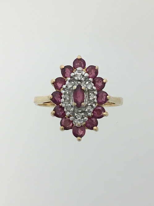 10k Gold One Carat Ruby and .02 Diamond Ring Size - 7 1/2