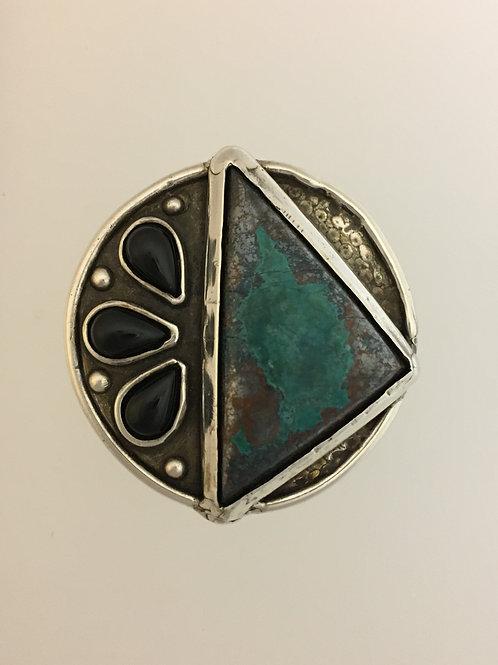 925 Onyx & Turquoise Ring Size - 7