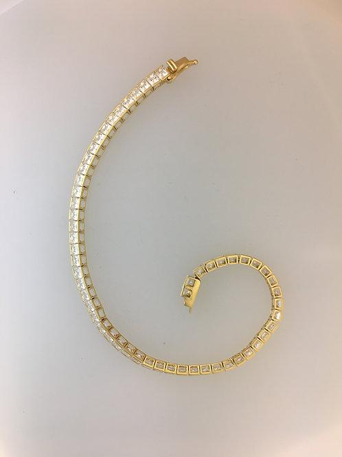 "14k Yellow Gold Five Carat CZ 3.5mm wide 7"" Long Bracelet"