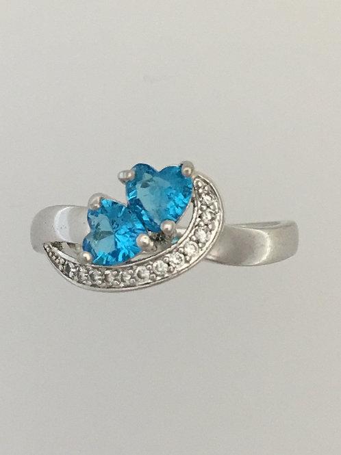 925 Blue Topaz & CZ Ring Size - 10