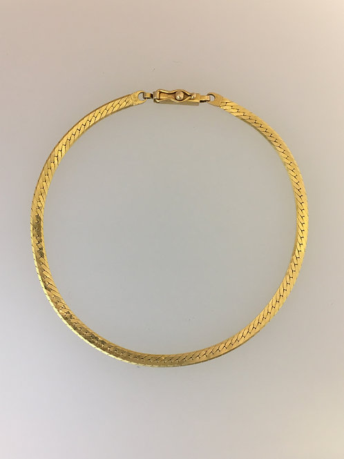 "14k Yellow Gold 8"" Herringbone Bracelet Three Millimeters Wide"