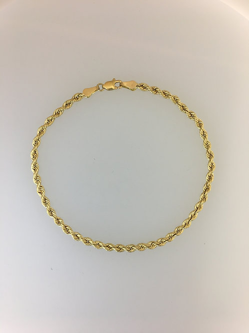 "14k Yellow Gold 8"" Rope Bracelet 2mm Wide"