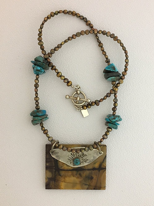 """925, Jasper, Pearl, & Turquoise 19"""" Necklace"""