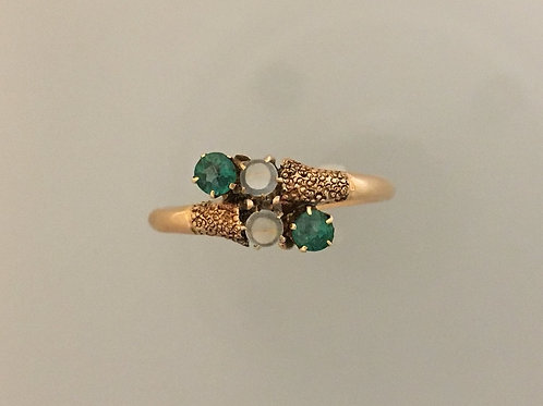 10k Rose Gold, Moonstone and Synthetic Emerald Ring Size - 7 3/4