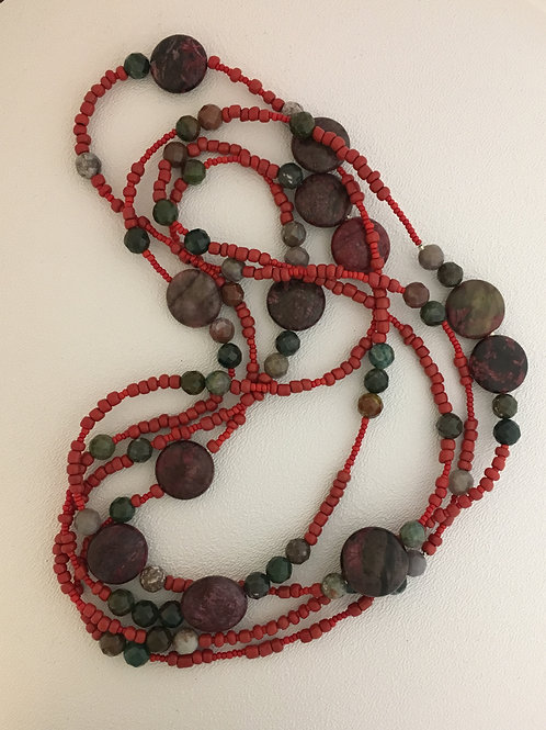 "Coral & Jasper 76"" Necklace"