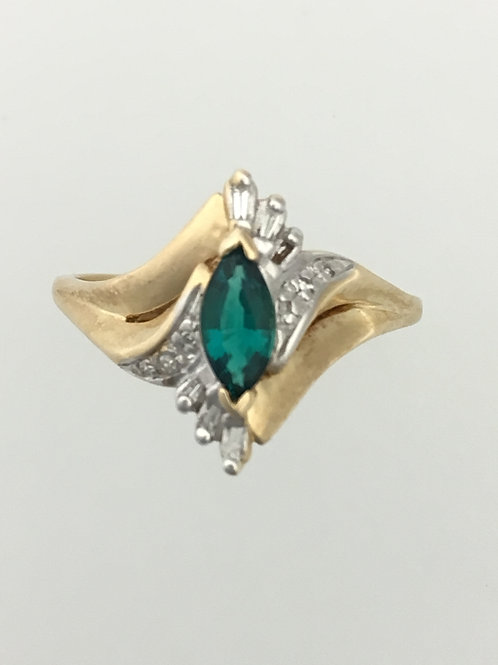 10k Yellow Gold Synthetic Emerald& CZ Ring Size - 10