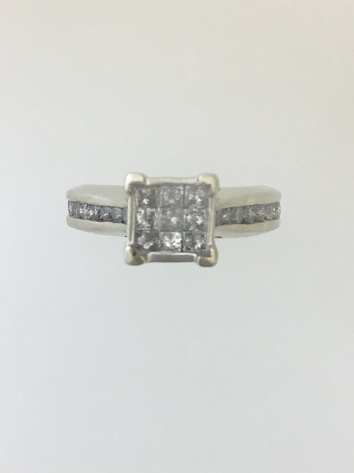 10k White Gold One Carat TW Diamond English Ring Size - 7