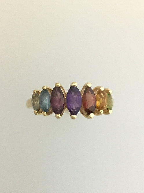 10k Yellow Gold Multigem Ring Size - 6