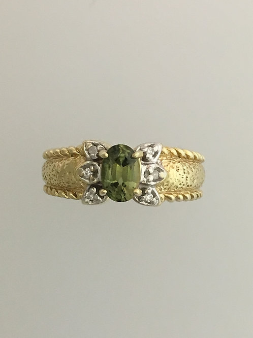 14k Yellow Gold Tsavorite Garnet Ring Size - 9