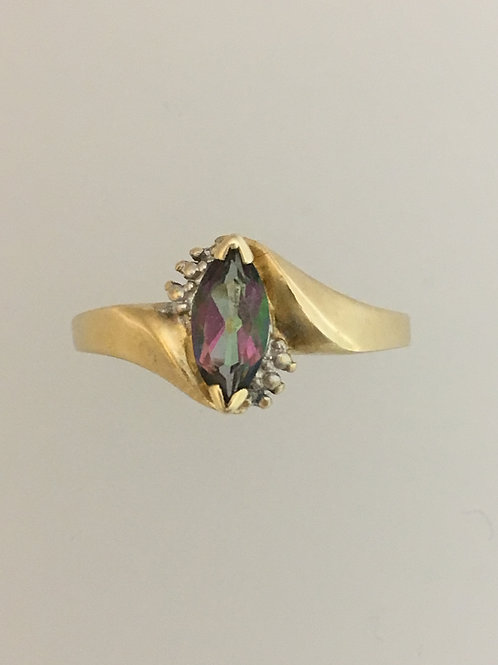 10k Yellow Gold .50 Mystic Topaz and .01 Diamond Ring Size - 7