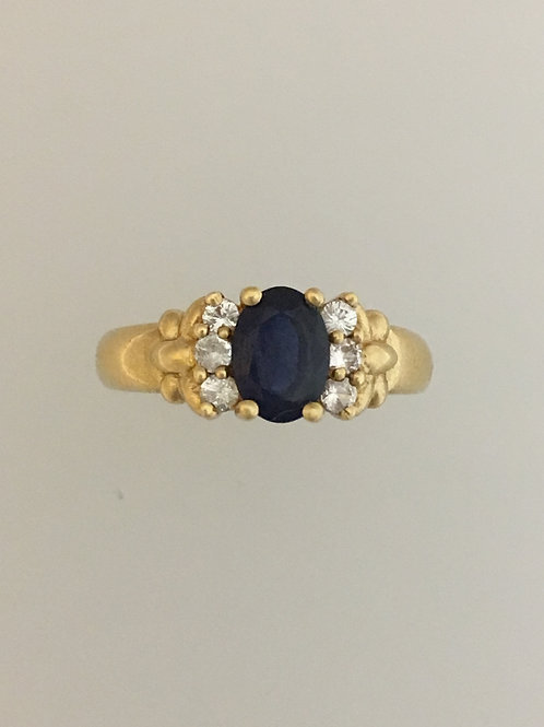 10k Yellow Gold One Carat Sapphire and .10 Zircon Ring Size - 6 1/2