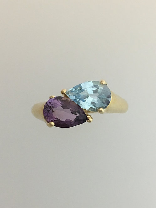 14k Yellow Gold 1Carat Amethyst 1 Carat Blue Topaz Ring Size - 9