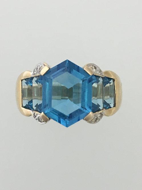 14k .06 Diamond Blue Topaz Ring Size - 7