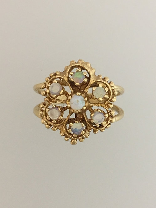 14k Yellow Gold Opal Ring Size - 5 1/2