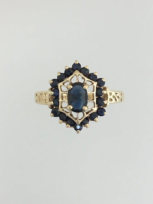 10k Yellow Gold .40 Center Sapphire .96 Sapphire Total Weight Ring Size - 8