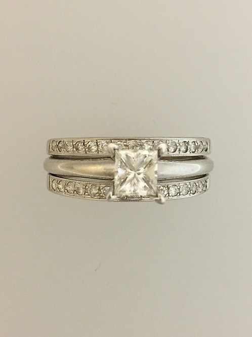 14k White Gold .85 CS HVVS2 One Carat TW Diamond Ring Size - 8