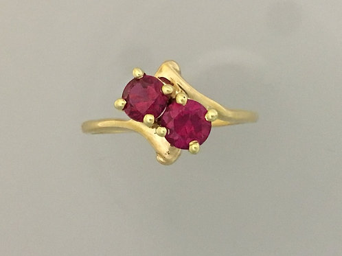 10k Yellow Gold Synthetic Ruby Ring Size - 8