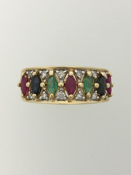 14k One Cttw. Ruby, Emerald and Sapphire Ring w Diamond Accents Size - 9 1/4