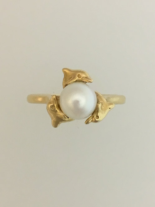 14k Yellow Gold 5mm Pearl Ring Size - 6 3/4