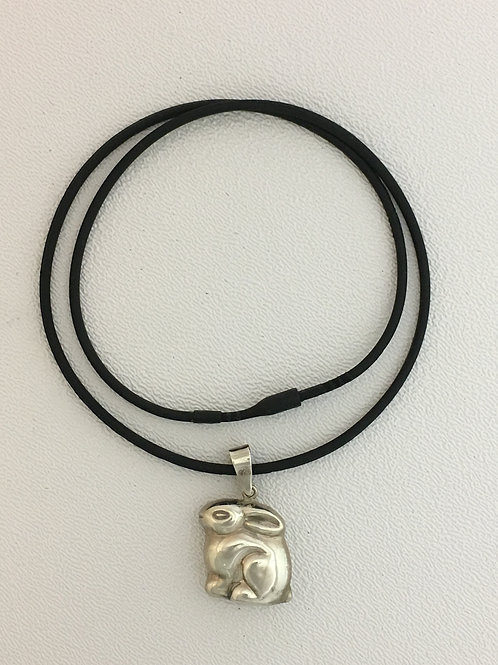 "925 on 18"" Rubber Necklace with Friction Clasp"