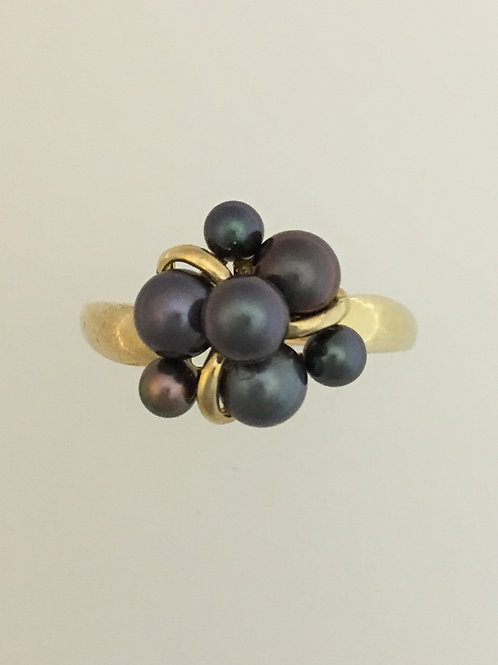 10k Yellow Gold 3 1/2 & 5mm Pearls Ring Size - 7 1/4