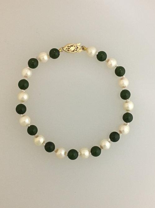"14k Pearl & Jade 7 1/4"" Bracelet"