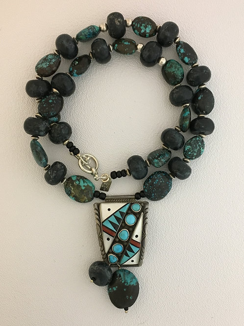 "925, Mother of Pearl, Onyx & Coral Turquoise 21"" Necklace"