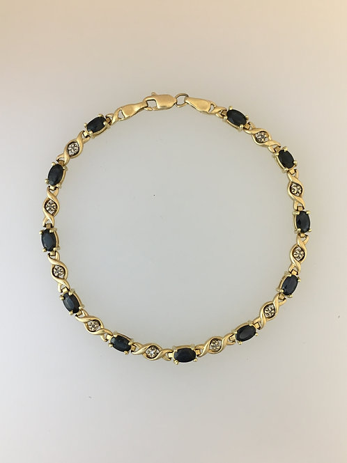 "10k Yellow Gold Sapphire and Diamond Tennis Bracelet 7"" Wide 4mm Wide"
