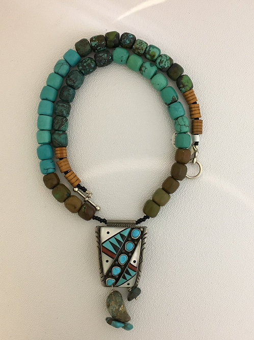 "925, Turquoise, Mother of Pearl, Onyx, Jasper & Wood 19 1/2"" Necklace"