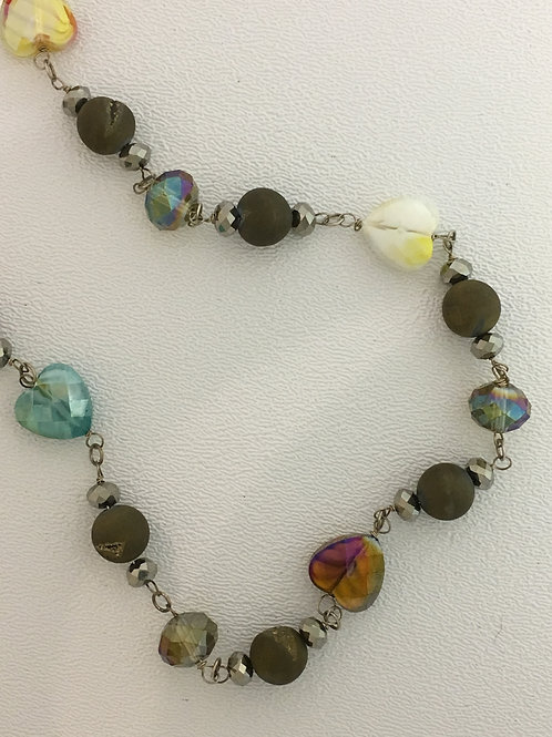 "925 Druzy Quearts, Hematite, & Crystal 20"" Necklace with 2"" Extender"