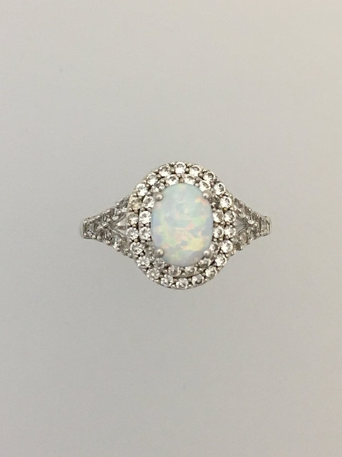 925 Synthetic Opal & CZ Ring Size - 7