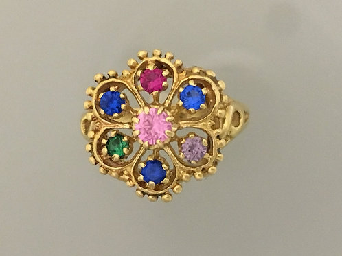 14k Yellow Gold Synthetic Stone Ring Size - 6 1/2