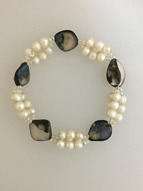 Pearl, Abilone, & Glass Stretch Bracelet