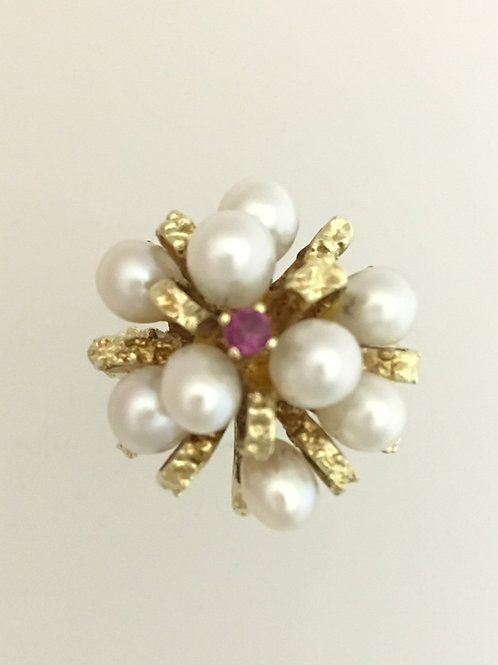 14k Yellow Gold Pearl & .05 Ruby Ring Size - 7 3/4